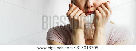 Lower Part Part Of Woman Face With Red Bubbles Of Virus Herpes On Her Lips She Tries To Hide It Unde