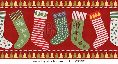 Funky Christmas Stocking Border Design In Traditional Colors. Seamless Vector Pattern On Textured Re