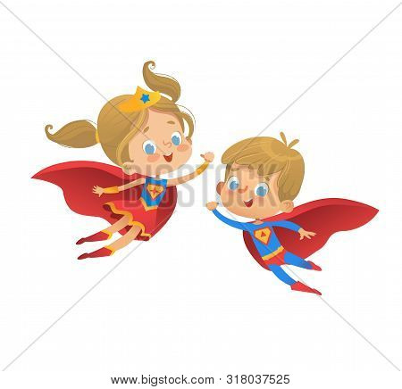 Superhero Kids Cartoon Vector Illustration. Super Hero Children Illustration Isolated On White Backg