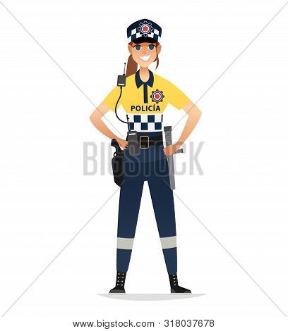 Police Woman Wearing Patrol Summer Uniform. Happy Smiling Europe Policewoman Agents. Isolated