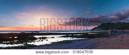 Sunset Ocean Coast Landscape. View From Beach Near Saint-jean-de-luz (france, Bay Of Biscay). Panora