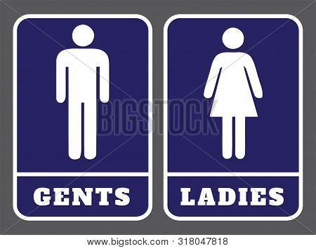 Ladies And Gents Washroom Sign.gents Washroom Icon And Ladies Washroom Icon On Blue Background Drawi
