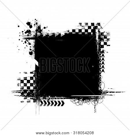 Black Grunge Race Track Elements With Ink Blots Squre Frame Isolated On White Background