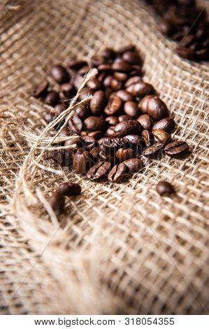 Sprinkled Roasted - Coffee Beans On Burlap