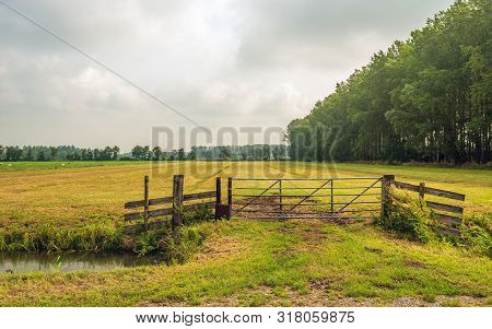 Typical Dutch Rural Polder Landscape With An Empty  Meadow And In The Foreground A Ditch And An Iron