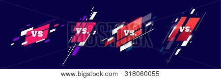 Set Versus Logo Vs Letters For Sports And Fight Competition. Mma, Battle, Vs Match, Game Concept Com