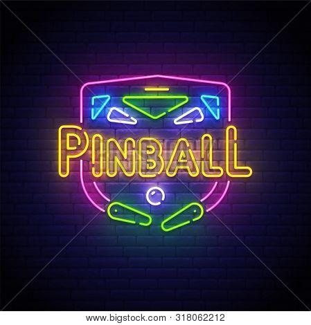 Pinball Neon Sign, Bright Signboard, Light Banner. Pinball Logo Neon, Emblem. Vector Illustration.