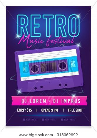 Retro Music Poster Template. Music Festival. Realistic Bright Audio Cassette. Mixtape In Style Of 80