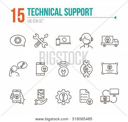 Technical Support Line Icon Set. Tools, Operator, Smartphone. Digital Gadgets Concept. Can Be Used F