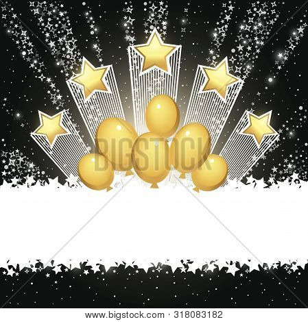 Dark Background With Stars. Holiday Abstract Vector Background With Place For Text. Template For You