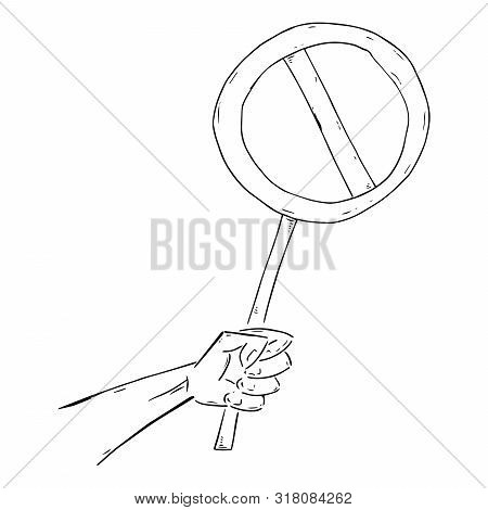 Hand Holds An Empty Round Banner. Crossed Out Banner Without Text. Round Banner On A Wooden Hilt. Ve