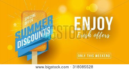 Special Offer Summer Sale Advertising Banner Label With Icecream Design Element And Typography