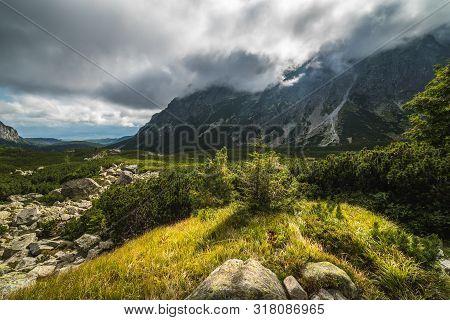 Sunlit Mountain Landscape With Clouds. Mengusovska Valley, High Tatras, Slovakia