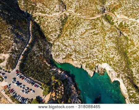Aerial  View Of Porto Limnionas Beach In Zakynthos (zante) Island, In Greece