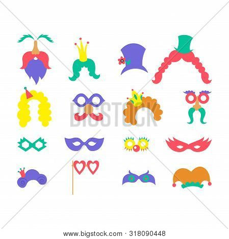 Purim In Vintage Style On White Background. Cartoon Greeting Set With Purim. Greeting Colorful Card