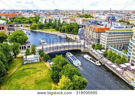 Skyline Aerial View Of Spree River And Museum Island In Berlin City, Germany. Berlin Touristic Tour