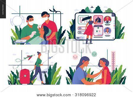Set Of Medical Insurance Illustrations - Routine Dental Checkups, Medical Application, Medical Touri