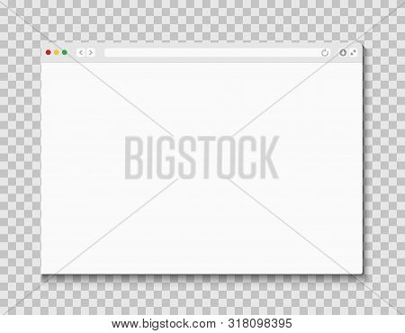 Web Browser Window. Computer Or Internet Frame Template Design Of Flat Page Mockup. Blank Screen Web