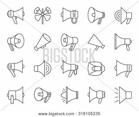 Megaphone Thin Line Icons Set. Outline Sign Kit Of Loud Speaker. Bullhorn Linear Icons Of Alert, Pub