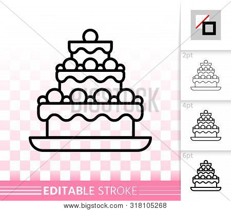 Cake Dessert Thin Line Icon. Outline Web Sign Of Sweet Food. Birthday Party Linear Pictogram With Di
