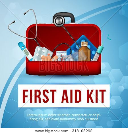 First Aid Kit Square Banner, Doctor Bag With Accessories, Medicine Drugs, Pills, Syringes Equipment,