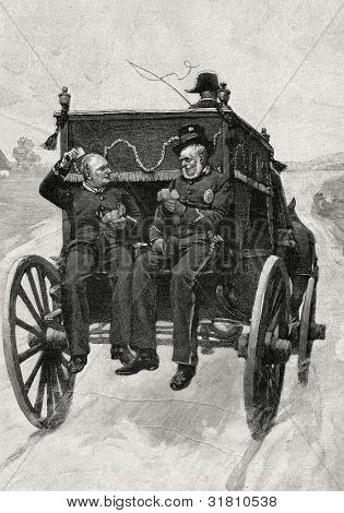 Returning from the funeral. Engraving by Tiria  from picture by Brispo. Published in magazine