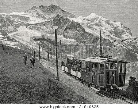 The railway to Mount Yungfrau (Switzerland). Engraving by Shyubler. Published in magazine