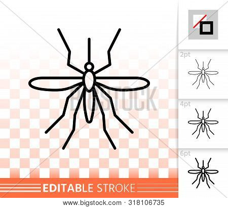 Mosquito Thin Line Icon. Outline Sign Of Insect. Bite Linear Pictogram With Different Stroke Width.