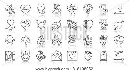 Valentines Day Thin Line Icon Set. Outline Web Sign Kit Of Romantic Love. Couple Hearts Linear Icons