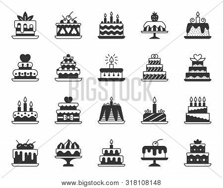 Cake Dessert Icons Set. Sign Kit Of Sweet Food. Birthday Party Pictograms Of Cupcake Design, Candle