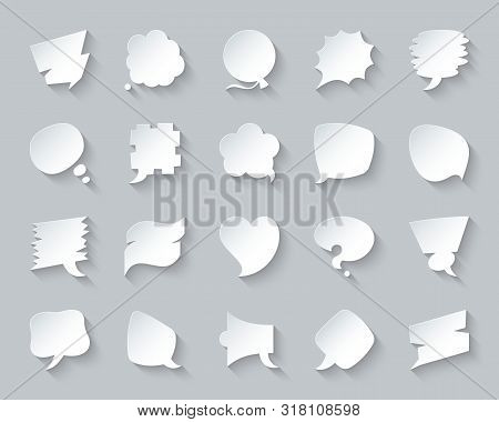 Speech Bubble Paper Cut Art Icons Set. 3d Web Sign Kit Of Comic Tell. Chat Pictograms Of Empty Quote