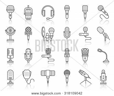 Microphone Thin Line Icons Set. Outline Sign Kit Of Mic. Journalist Interview Linear Icon Collection