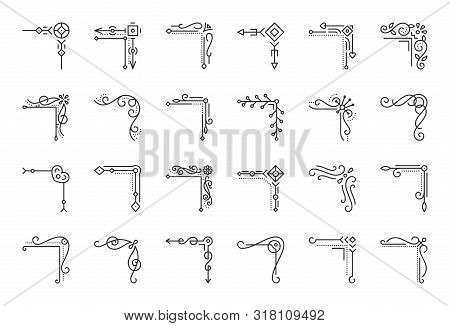 Corner Border Thin Line Icons Set. Outline Sign Decorative Frame Kit. Abstract Decor Linear Icon Col