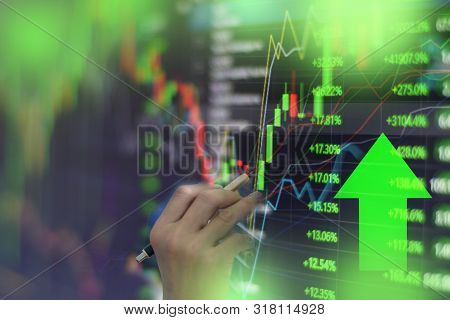 Green Stock Market Graph Chart With Indicator Investment Trading Stock Exchange Trading Market Monit