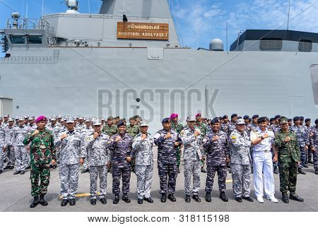 Chonburi, Thailand - August 15, 2019: Group Photo Of The Royal Thai Navy And Indonesian Navy Officer