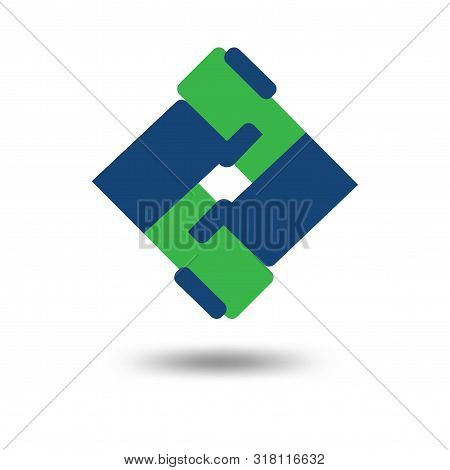 Friendship Cooperation Square Logo Vector Template. Cooperation Hand Shake Logo Template