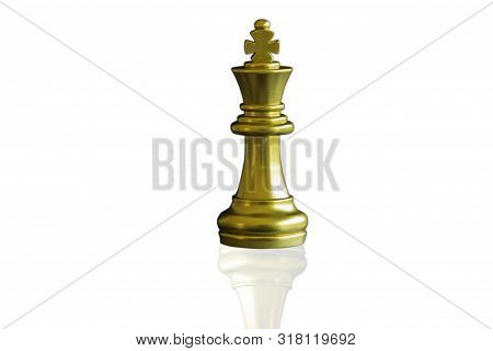 Close Up Piece Of Chess King On Isolated White Background With Clipping Path. The King In Battle Che