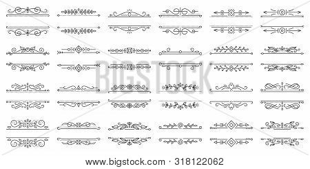 Text Frame Thin Line Icons Set. Outline Sign Border Ornament Kit. Linear Collection Of Vintage Desig