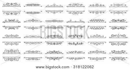 Text Frame Thin Line Icons Set. Outline Sign Border Ornament Kit. Linear Collection Of Vintage Desig