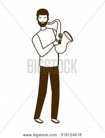 Silhouette Of Man With Saxophone On White Background Vector Illustration Design