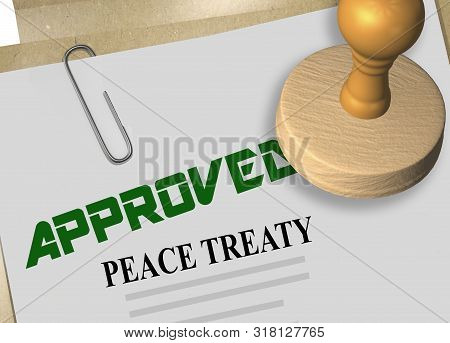 3d Illustration Of Peace Treaty Stamp Title On Credit Application Document