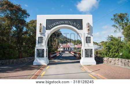 Rotorua, New Zealand -december-11-2017 : The Gate Way Entrance To Whakarewarewa The Living Maori Vil