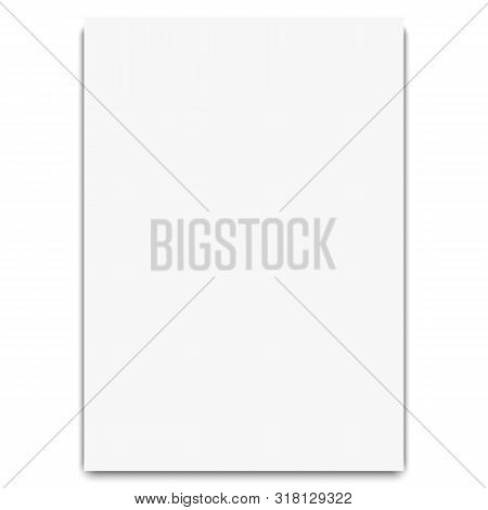 Notebook White Sheet. Pattern White Realistic Blank Paper Page With Shadow Isolated On White Backgro