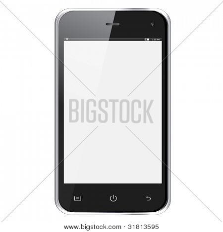 Réaliste téléphone mobile avec écran blanc isolé sur fond blanc. Vector illustration eps10