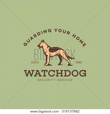 Sheepdog Logo, Label Design Template. Vector Illustration.