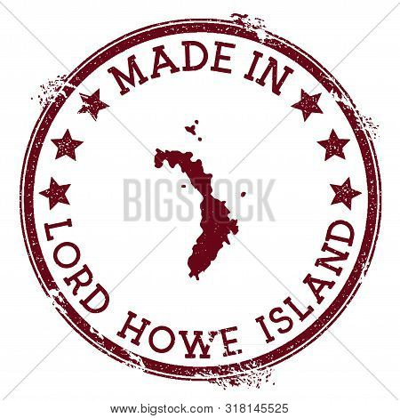 Made In Lord Howe Island Stamp. Grunge Rubber Stamp With Made In Text And Island Map. Graceful Vecto