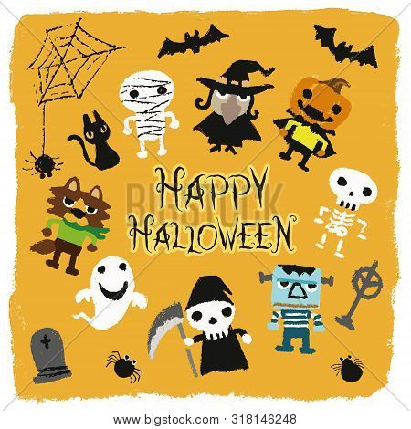 Halloween Characters (jack-o-lantern, Pumpkin, Mommy, Ghost, Bat, Black Cat, Skeleton, Monster, Grav