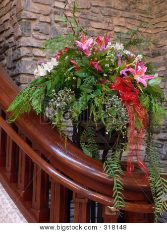 Flower Arrangement By Stairs
