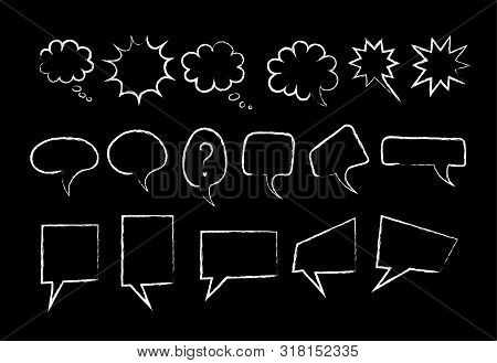 Speech Bubble Chalk Marker Set Vector Illustration. White Color Chalked Collection, Hand Drawn Recta