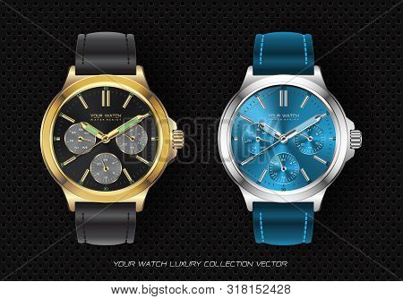 Realistic Clock Watch Chronograph Gold Black And Silver Blue Collection Luxury On Black Circle Mesh